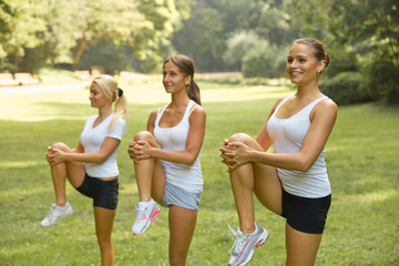 Fitness class. Beautiful young women doing exercise at summer pa