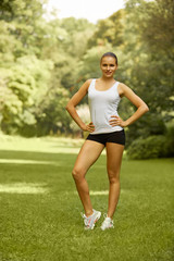 Portrait of a pretty Sporty Woman outdoor