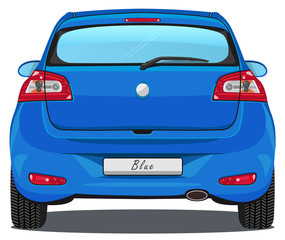 Vector Car - Back view - Blue