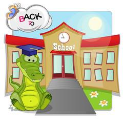 Crocodile and school