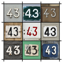 Collage of House Numbers Forty-three