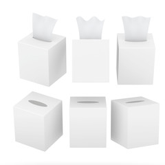 White blank square size tissue box with clipping path
