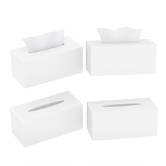 White blank rectangular size tissue box with clipping path