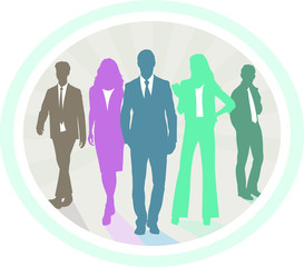 Business people silhouettes. Team building teamwork