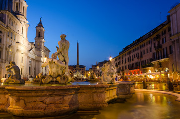 Piazza Navona by night, after sunset
