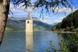 canvas print picture - Kirchturm Reschensee