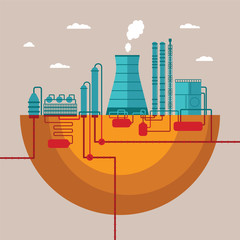 Vector concept of refinery plant