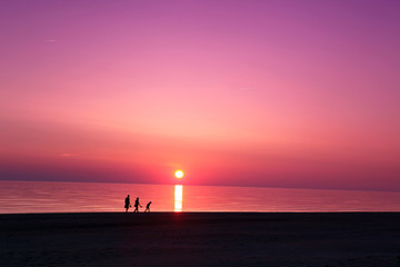 Sea scape scene in the Ocean, beach ocean sunset landscape