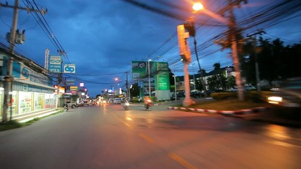 Thailand, 16 july 2014 Motion Thai night street on motobike.