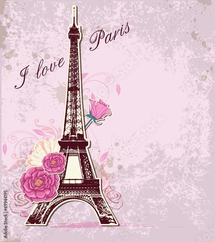 Zdjęcia na płótnie, fototapety, obrazy : Roses and  Eiffel tower