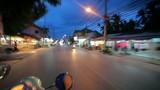 Thailand, 16 july 2014 Motion Thai night street on motobike.