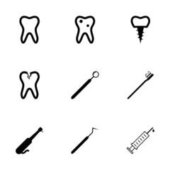 Vector black dental icons set