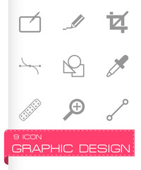 Vector black graphic design icons set