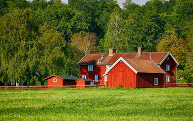 red farm and nature set in a swedish landscape