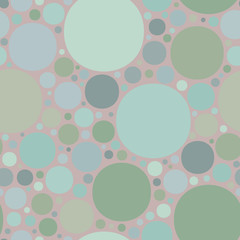 Colorful circles on a pink background.