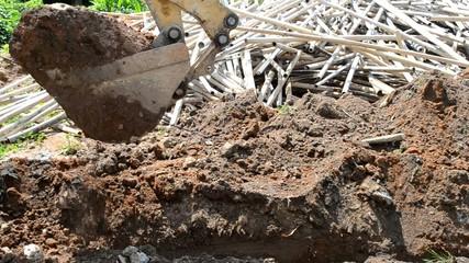 Excavator is digging