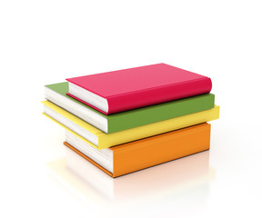 multicolored books tower isolated on white background