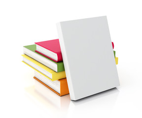 white book leaned on multicolored books tower