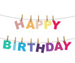 happy birthday colorful letters hanging on rope with clothespins