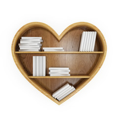 heart shaped book shelf with white books, heart of knowledge,