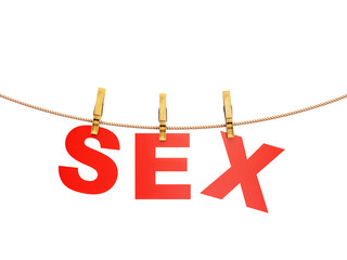 red sex letters hanging on rope with clothespins