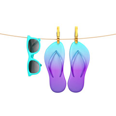 blue glasses and flip flops hanging on rope with clothespins