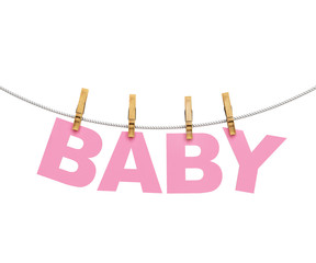 baby colorful letters hanging on rope with clothespins