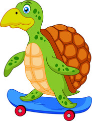 Turtle on skateboard