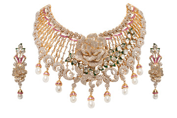 Close - up of diamond necklace with diamond earring