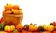 Harvest basket and autumn pumpkin and vegetable border