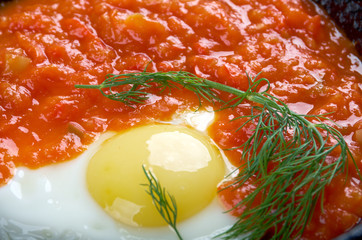 Matbucha and scrambled eggs