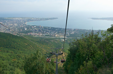 cableway that goes the mountain in summer.genlendzhik Russia