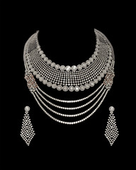Close - up of diamond necklace with diamond earrings