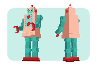 retro robot vector illustration