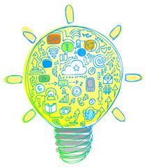 Light Bulb full of internet icons