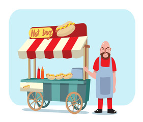 hot dog cart with shop owner vector illustration