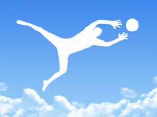 Goalkeeper catches the ball cloud shape
