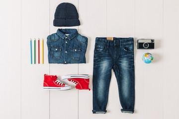 Overhead of essentials hipster boy.