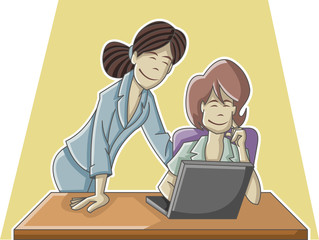 Cartoon business woman working on office computer
