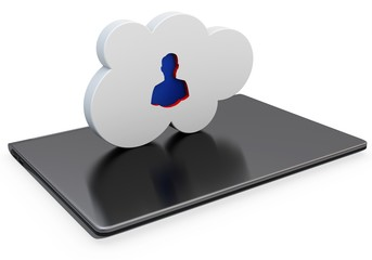 3d closed laptop with cloud