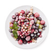 Frozen berry isolated on white background top view