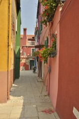 Colorful alley in Burano, Venice