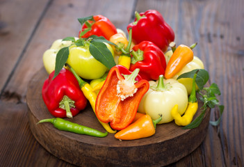 Variety of fresh organic peppers