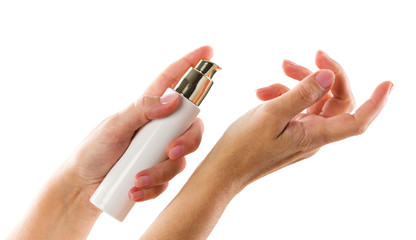 cosmetic means in woman's hands