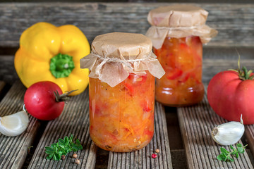 Canned tomato stew salad with sweet pepper Lecho/Lecso