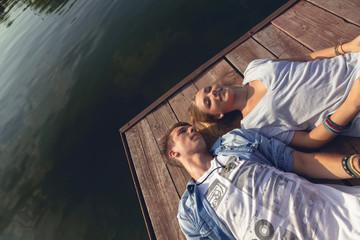 Couple Enjoying Near River