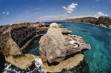 Italy, Calabria, St. Irene rock, used by Romans as fish tanks