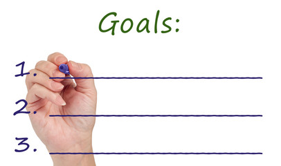 Hand Writing Goals On White Background