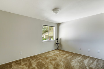 Emtpy room with soft brown carpet floor