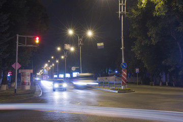 Crossroads in Pyatigorsk (Russia) at night